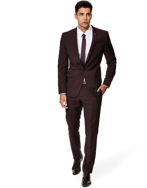 Grey Slim Fit Suit Brown Shoes