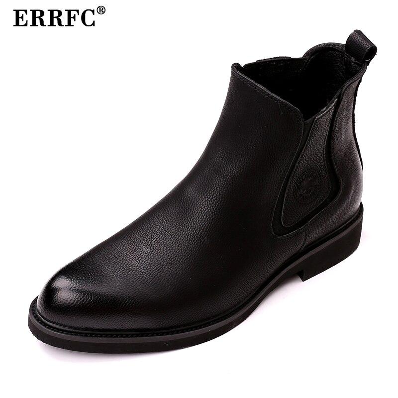 ERRFC British Fashion Black Men Chelsea Boots Round Toe High Top PU Leather Shoes Designer Slip