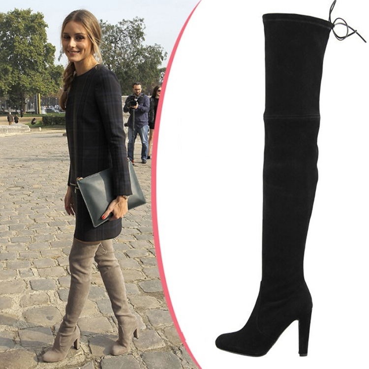 Stretch Suede Thigh High Boots - Yu Boots
