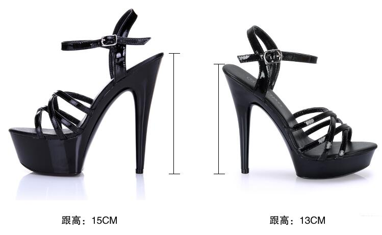 Car Models Shoes 2017 high heels 13 / 15CM with Thick Bottom Strap Waterproof Table Sandals Model Catwalk Shoes Plus Size 34-44 the bride single shoes catwalk shows the performance of 15 cm high with roman style thick bottom appeal show shoes