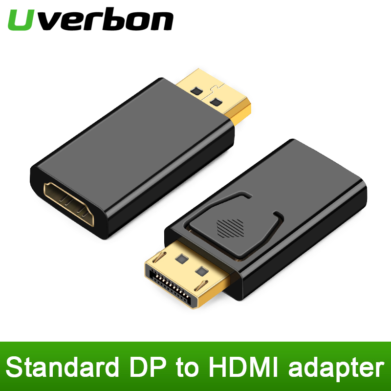 Uverbon 1080P Display Port DisplayPort DP Male To HDMI Female Converter Adapter Video Audio Connector Fit For PC Laptop Computer