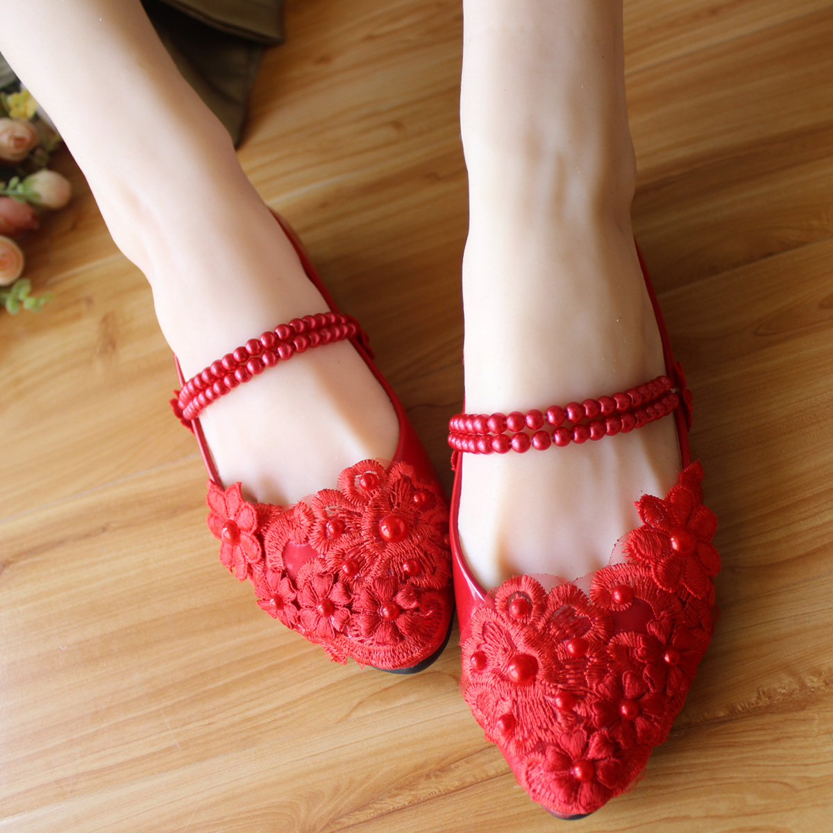 red flat bridal shoes strap wedding shoes red flat heel