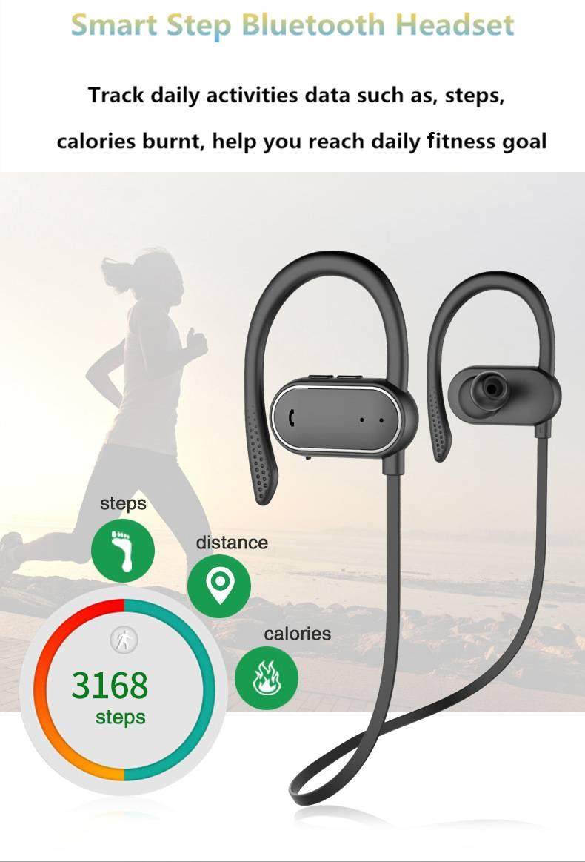 Itek Wireless In-Ear Bluetooth Sports Earbuds Headphones IPX4 Waterproof Pedometer Handsfree Noise Canceling Earphones with Mic