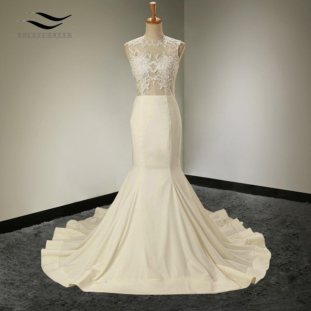 In Stock Appliques Floor Length Mermaid Scoop Wedding dress Court Train Zipper Bridal Gown Custom made