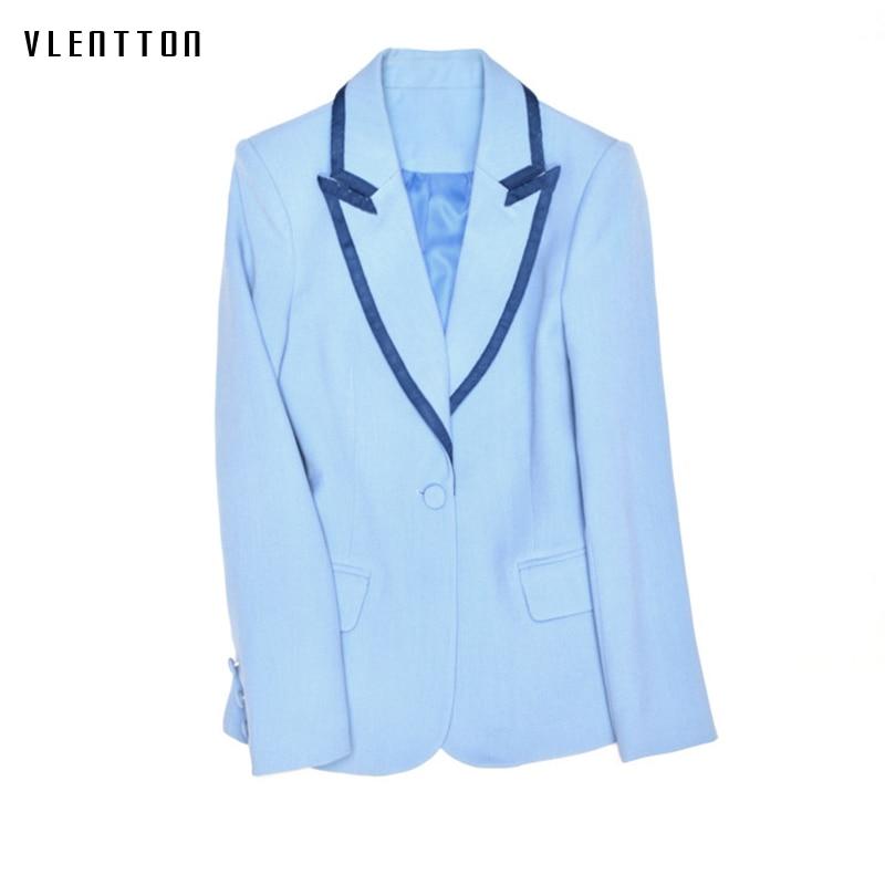 2019 Fashion Runway Design Elegant Office Ladies Blazer Single Button Light Blue Slim Jackets And Blazers Coat Female Outwear