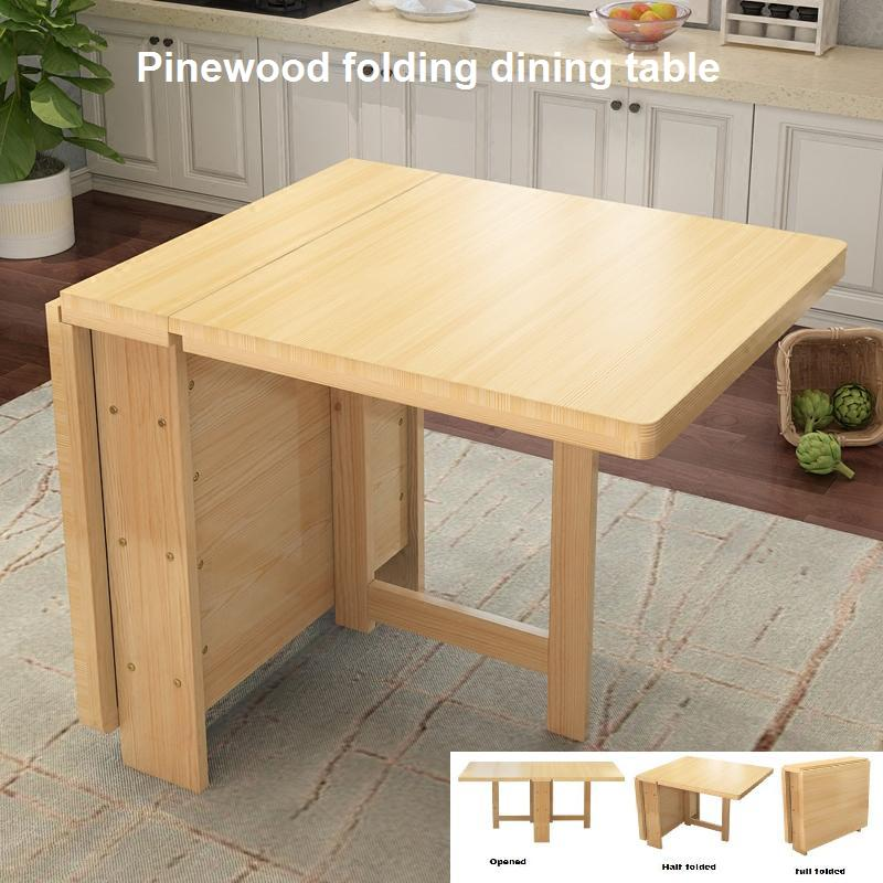 Pine folding table small apartment simple modern folding rectangular multi-function dining table