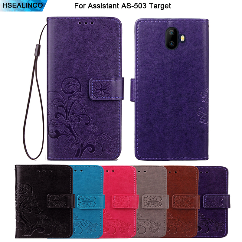 HSEALINCO Wallet Case For Assistant AS-503 Target PU Leatehr Flip Magnetic Cover With Strap Embossing Mobilephone Bag