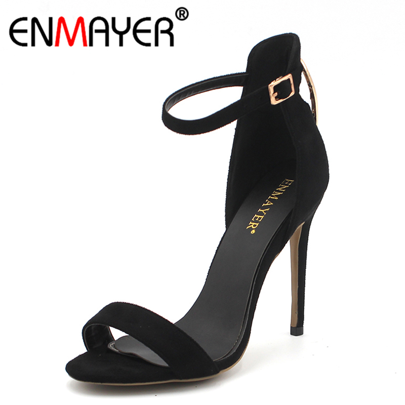 ENMAYER Summer Women Sandals Buckle Strap Stiletto Extreme High Heels Open Toe Cover Heel Banquet Shoes Women Plus Size 46 baibeiqi summer style women sandals high heels shoes ladies sexy open toe ankle buckle stiletto heels ol work shoes plus size