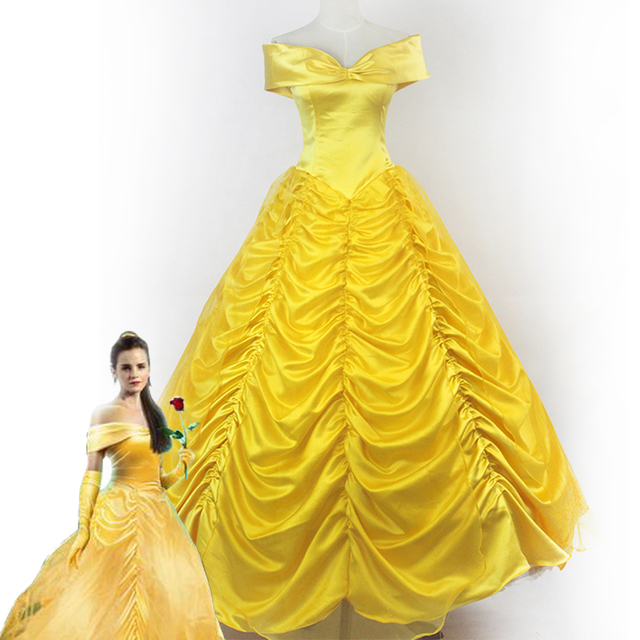 495d8e3250e02d 2018 Movie Schoonheid en het Beest Prinses Belle volwassenen cosplay kostuum  geel fancy dress Custom made