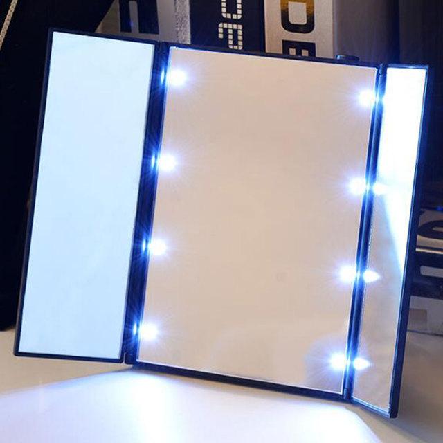 Moda 3 Color LED Espejo de Maquillaje Regalo Espejo Plegable Portátil de Energía
