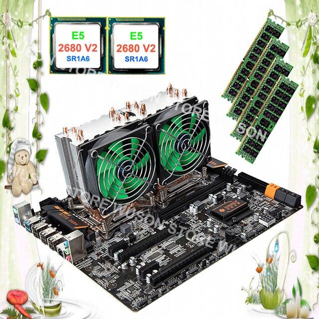 US $783 75 25% OFF Computer custom made HUANAN ZHI dual CPU X79 motherboard  with dual CPU Intel Xeon E5 2680 V2 SR1A6 with coolers RAM 32G REG ECC-in