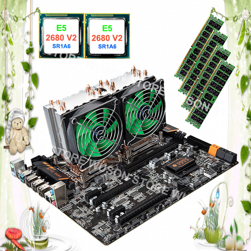 Computer custom made HUANAN ZHI dual CPU X79 motherboard with dual CPU Intel Xeon E5 <font><b>2680</b></font> <font><b>V2</b></font> SR1A6 with coolers RAM 32G REG ECC image