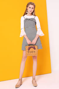 Dress Korean Women Fashion Autumn A-Line with Plaid Suspenders Two-Pics-Sets 3/4-Flare-Sleeves