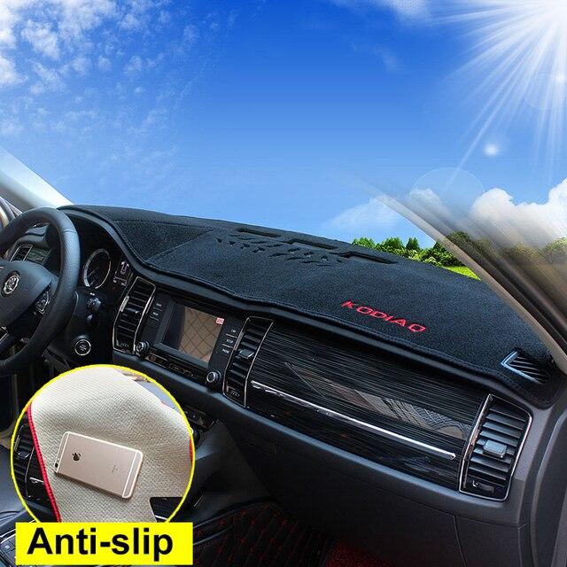 Para Skoda kodiaq 2017 2018 LHD del tablero de instrumentos del coche cubierta estera evitar luz de sol sombra tablero cubierta alfombras Interior accesorios