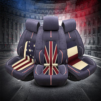 US UK France flag design car Flax Seat Covers universal use