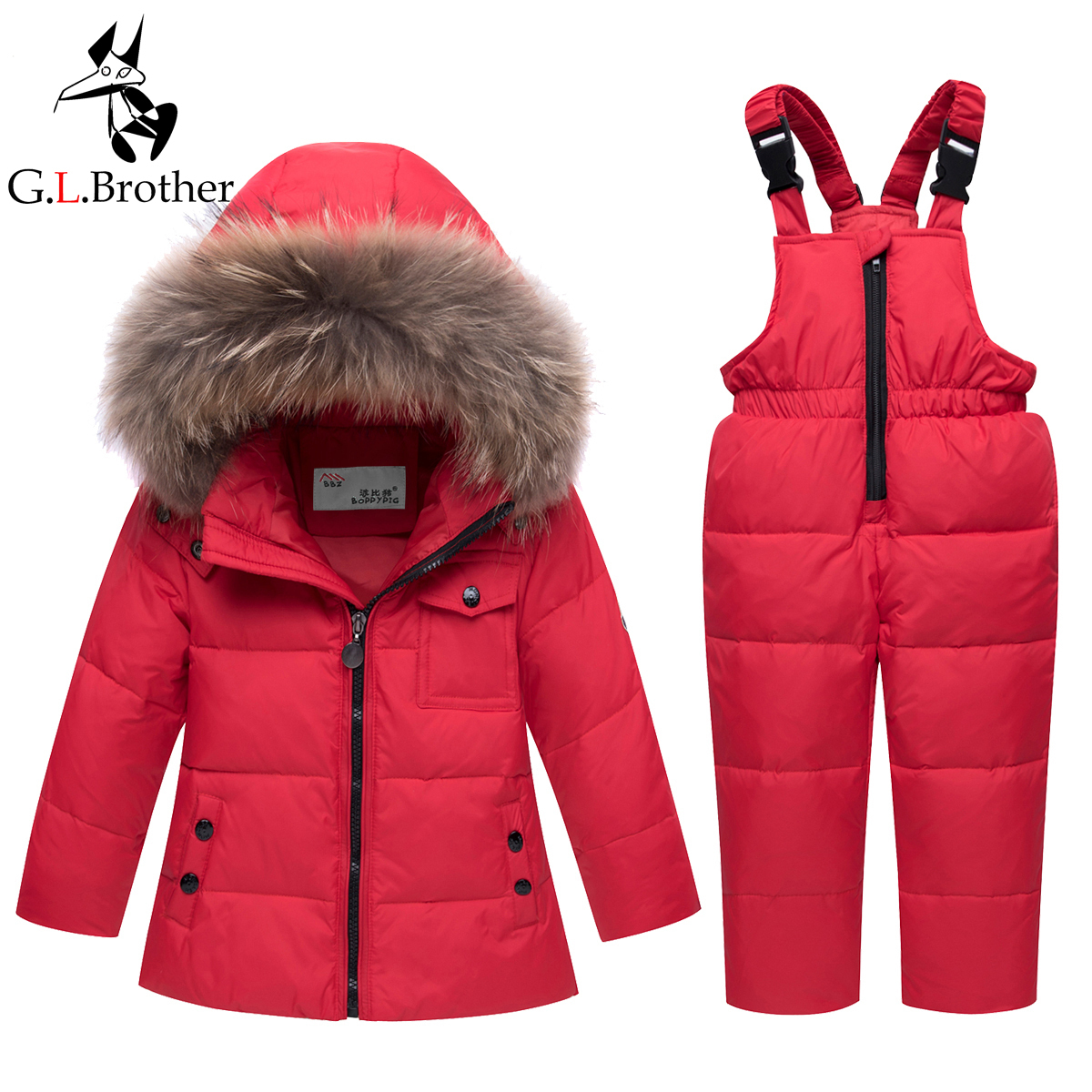 Thick Warm Kids Winter Snowsuit Waterproof Windproof Baby Boys Girls Ski Suits Down Coat+Overall Big Fur Collar Child Snow Wear стоимость