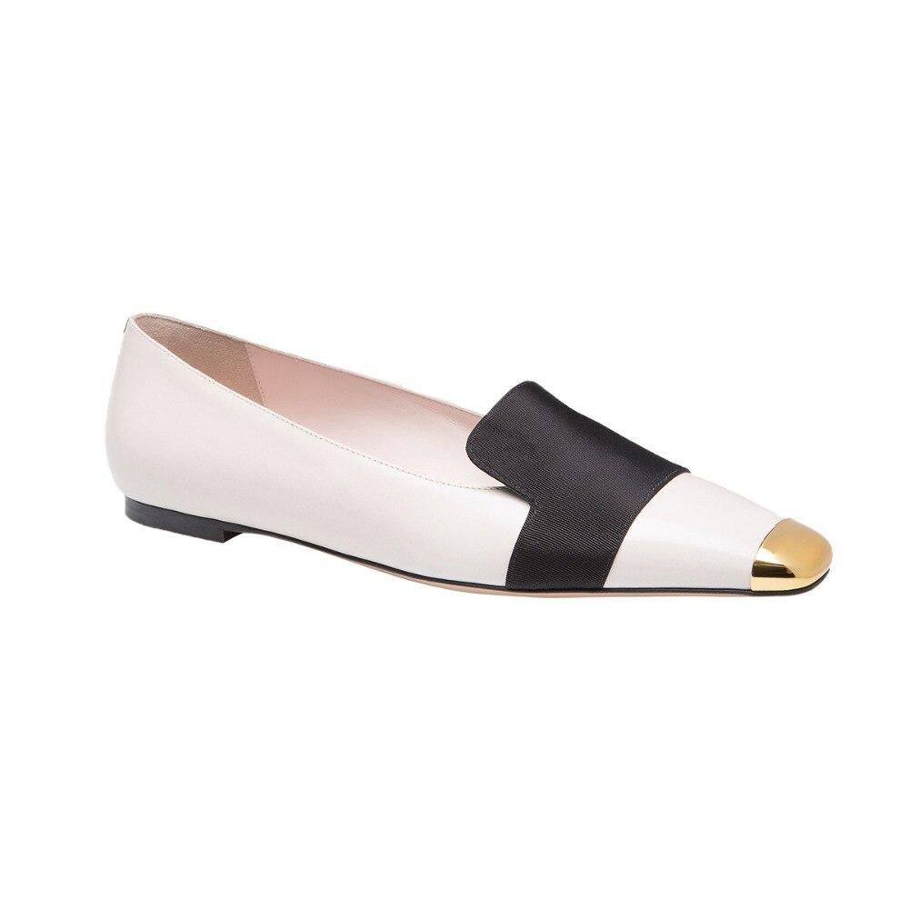 Shofoo Women Brand Designer Flatswith Bow White Pleather Crossed Black Ballet Flats Shoes Sapato Feminino size