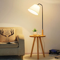 Artpad современный фарбический абажур торшер с деревянным столом скандинавский стандарт лампа E27 фойе кабинет спальня отель осветительный пр...