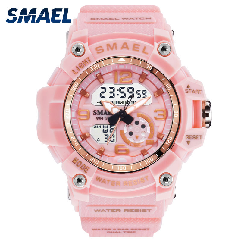 Sport Watch Digital Woman SMAEL Women Clock Bracelet Ladies Military Army LED Watch reloj mujer1808 Women Watches 50M Waterproof(China)