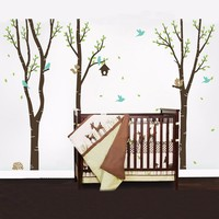 Wall Decals Tree with Birds and Animals Vinyl Kids Wall Sticker Huge Nursery Mural Decoration Wall Stickers for Kids Rooms D637