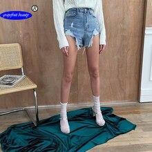 купить!  Грейпфрут красоты Официальный магазин с высокой талией 2019 летняя дыра повседневные джинсы короткие