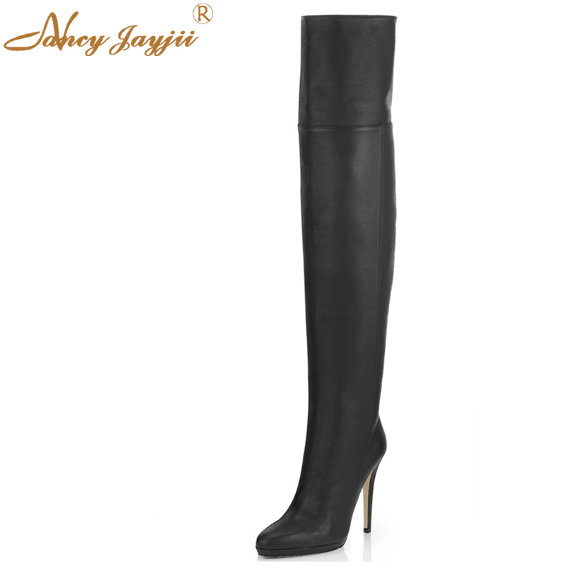 Thigh High Genuine Leather Boots Point Toe High Heels Over Knee High Boots Fashion Shoes Woman zapatos botas mujer plus size 16 2017 women thigh high boots over the knee high heel boots peep toe high heels woman shoes plus size 4 11 botas mujer femininas