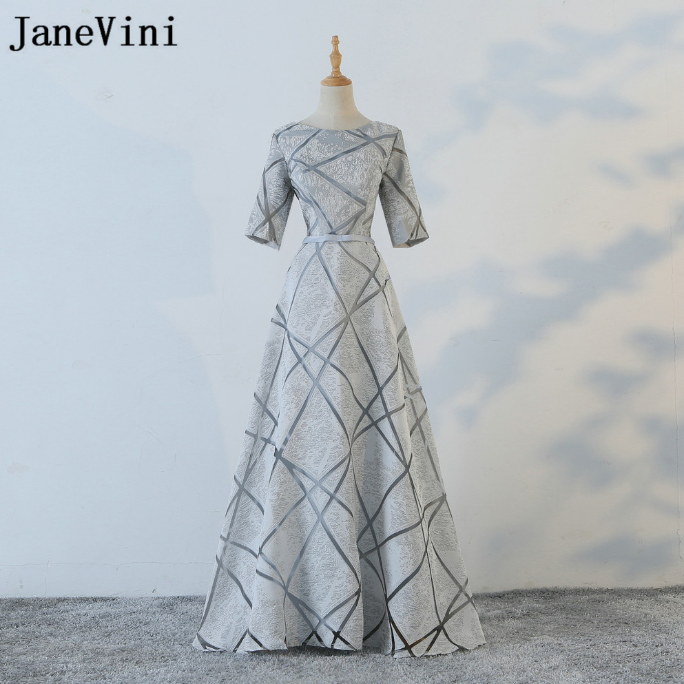JaneVini Gray Champagne Purple   Bridesmaid     Dresses   Long 2018 Half Sleeve Wedding Guest   Dresses   A-Line Zipper Back Prom Party Gown