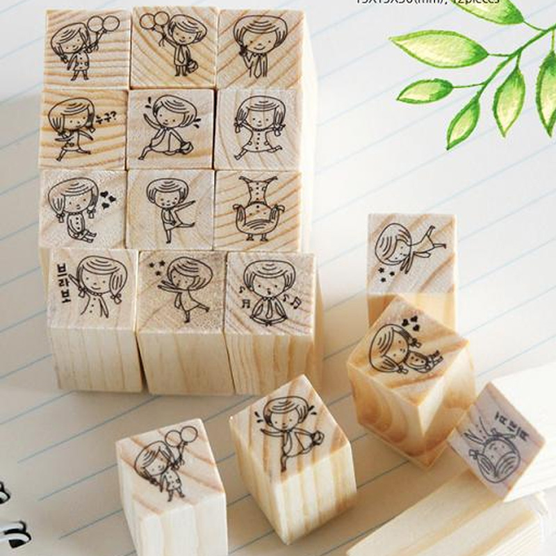 12 pcs/box Mini children girl stamp DIY wooden rubber stamps for scrapbooking stationery scrapbooking standard stamp 1 box pack retro vintage diy dorothy quartet series diary wooden rubber stamp with iron box clear stamps for scrapbooking