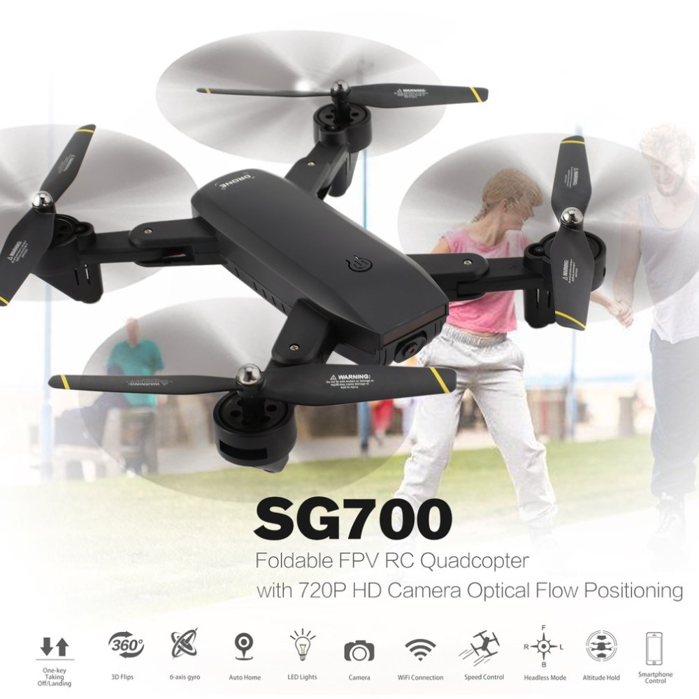 2.4G Foldable RC Drone Quadcopter Toys With 720P HD Wifi FPV Camera Optical Flow Positioning Altitude Hold Headless Mode SG700
