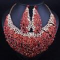 Роскошные Полные Стразы Кристалл Большой Ожерелье и Серьги Заявление Африканских Свадебные Ювелирные Наборы