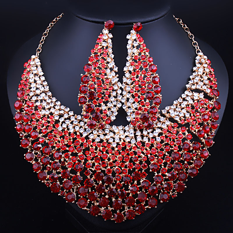 Luxury Full Rhinestones Crystal Large Necklace and Earrings Statement African Bridal Jewelry Sets statement alloy crochet earrings and necklace