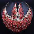 Luxury Full Rhinestones Crystal Large Necklace and Earrings Statement African Bridal Jewelry Sets