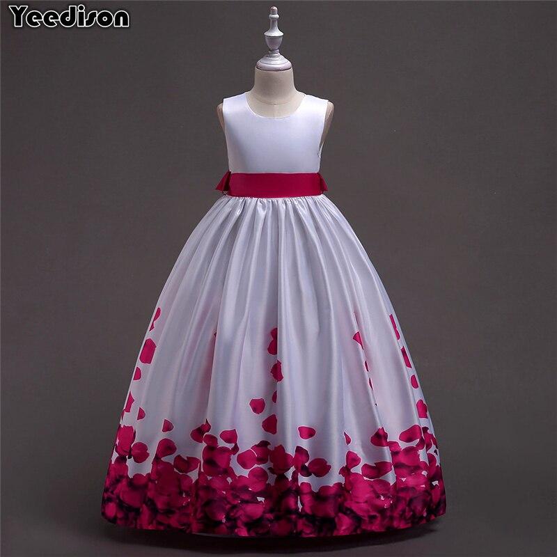 Yeedison Elegant Kids Wedding Dresses For Girls Sleeveless Print Party Princess Dress 2018 Cute Children Costumes Girl Ball Gown