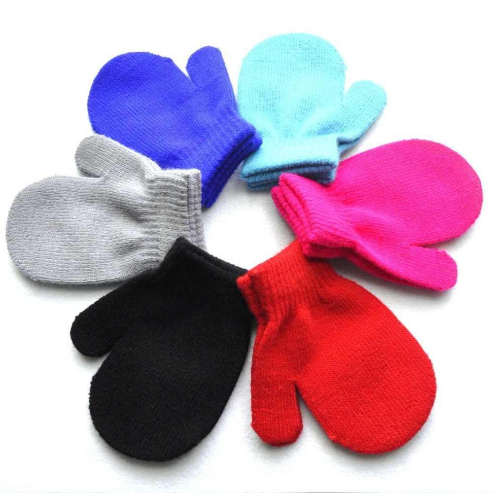 6 צבעים חמוד תינוק ילדים בני בנות יוניסקס סריגה חם רך כפפות סוכריות צבעים כפפות