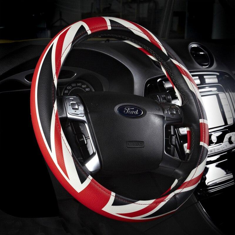 Leather steering wheel cover UK flag printed auto sport winter fur steering wheels covers racing car interior accessories 38cm