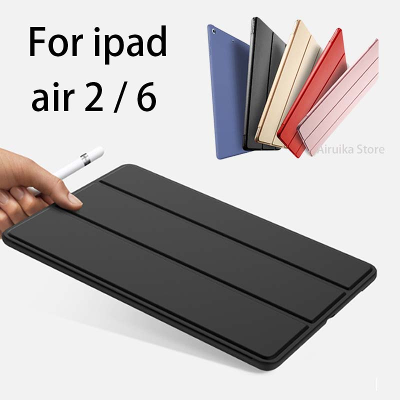 For iPad Air 2 Case,Slim Pu Leather+Silicone Soft Back Smart Cover Sturdy Stand Auto Sleep for iPad air2 ipad 6 Coque +Stylus