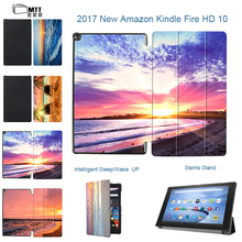 MTT Print Sunrise Potective cover skin for 2017 kindle fire 10″ tablet with Alexa fire 10.1″ Smart Stand PU leather cover case