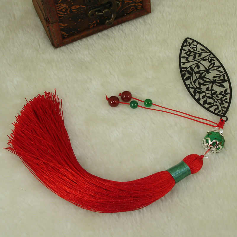 Tassel & Agate Handmade Bookmark Original Design Leaves with Beading Fashion Stationery Accessory for Jewelery Gifts