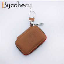BYCOBECY Auto Accessories Zipper Car Keyholder Key Case Litchi Home Dual Smart Organizer Keeper