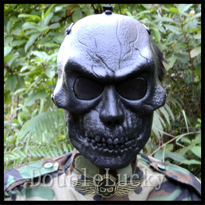 Halloween Party Cosplay New Black Airsoft Paintball Tactical Full Face Protection Skull Mask CS War Game Cool Cosplay Resin Mask