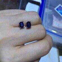 Настоящие сапфировые серьги-гвоздики 5 мм* 7 мм темно-синие серьги из сапфирового драгоценного камня простые 925 Серебряные сапфировые серьги для девочек