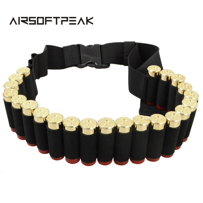 135x5cm Military Rifle Waistband 12 Gauge Ammo Carrier 25 Round Shell Holder Tactical Cartridge Belt Outdoor Hunting Bags 12GA