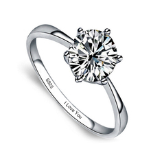 Sent Certificate of Silver Personalized Engrave 100 Pure 925 Sterling Silver Ring Single CZ Stone Engagement