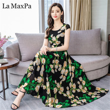 La MaxPa Summer maxi Dresses For Women 2019 New Print bohemian dress Causal Short Sleeve O Neck Chiffon Dress Loose Vestidos