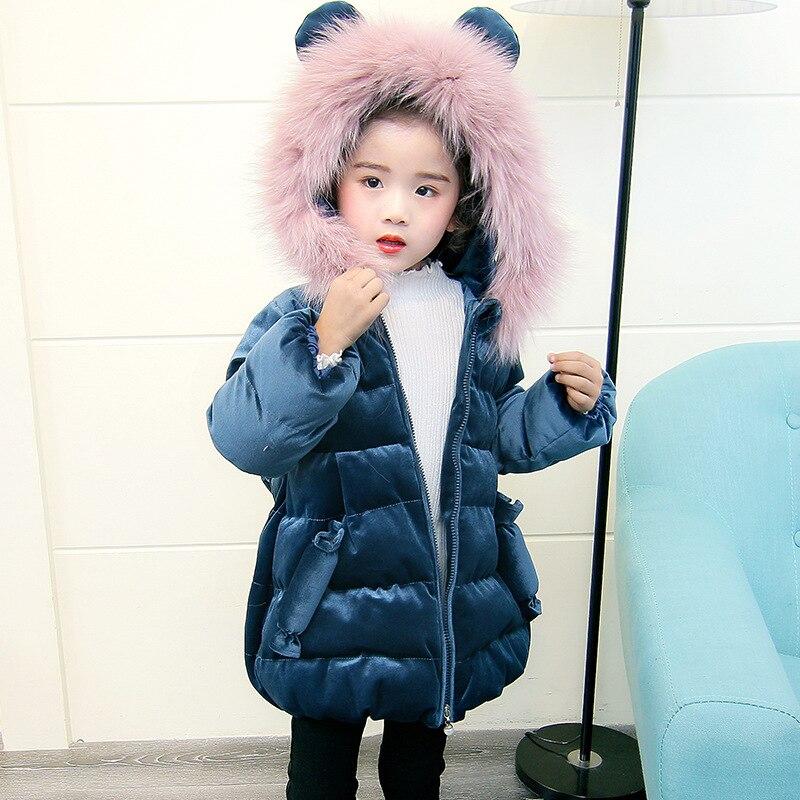 Bébé filles vestes hiver 2018 petites filles manteaux d'hiver chaud à capuche vêtements d'extérieur pour enfants manteau mignon bleu petites filles vêtements