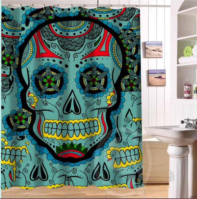 WARM TOURFashion Waterproof Polyester Bath Curtains Popular Flowers Sugar Skull Shower Bathroom Curtain180180CM