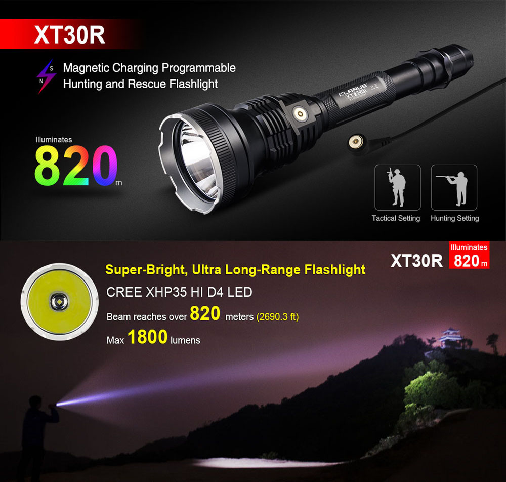 KLARUS XT30R 820m Range 1800 Lumens CREE XHP 35 HI D4 LED Flashlight Magnetic Rechargegable Lantern Tactical Hunting Setting new klarus xt11gt cree xhp35 hi d4 led 2000 lm 4 mode tactical led flashlight free usb port and 18650 battey for self defence