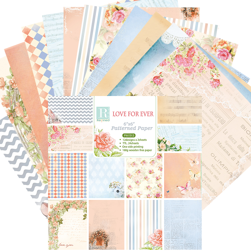 DIY Photo Album scrapbooking paper packs Love for Ever series Decorative Scrapbooking Papers Crafts Art Card 6 24 Sheets /Set image