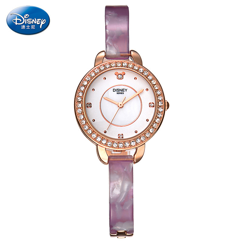 Disney original brand Genuine leather purple Mickey mouse watches for womens luxury diamond quartz female clocks waterproof 100% genuine disney mickey mouse women quartz wrist watch with brand box packaging for 2016 birthday gift 30m feet waterproof