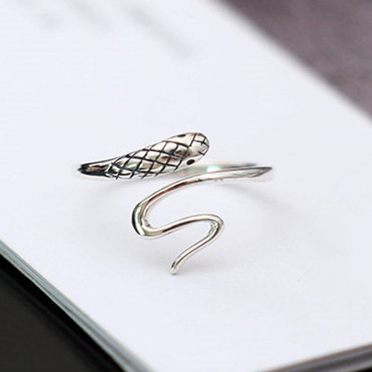 Flyleaf 925 Sterling Silver Small Snake Open Rings For Women Vintage Style Lady Prevent Allergy Sterling-silver-jewelry